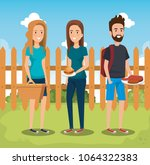 young people in picnic day scene   Shutterstock .eps vector #1064322383