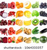 collection of color fruits and... | Shutterstock . vector #1064333357