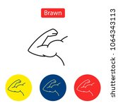 brawn line fit icons. flexing... | Shutterstock .eps vector #1064343113