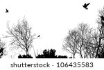 silhouette of trees and birds, copyspace - stock photo