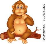 cute gorilla cartoon sitting on ...   Shutterstock .eps vector #1064366327