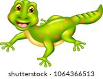 funny gecko cartoon posing with ...   Shutterstock .eps vector #1064366513