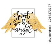 hand drawn wings and lettering... | Shutterstock .eps vector #1064373377