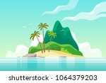 tropical island with palm trees.... | Shutterstock .eps vector #1064379203