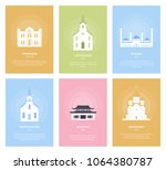 temples. collection of... | Shutterstock .eps vector #1064380787