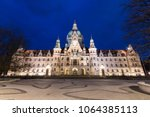 Stock photo hannover germany night view of the new town hall neues rathaus a magnificent castle like city 1064385113