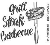 food meat  steak on a skewer... | Shutterstock .eps vector #1064389283