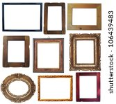 Collection of vintage wooden and golden empty frames isolated on white background - stock photo