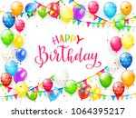red text happy birthday on... | Shutterstock . vector #1064395217
