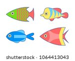 set of tropical fish. isolated... | Shutterstock .eps vector #1064413043
