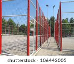 an image of basketball field in  residential area - stock photo