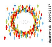 vector people crowd circle... | Shutterstock .eps vector #1064435357