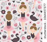 Stock vector seamless pattern with cute ballerina 1064457377