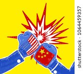 conflict between usa and china... | Shutterstock . vector #1064459357