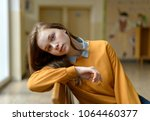 young depressed lonely female... | Shutterstock . vector #1064460377