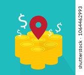 money coin with pin   vector... | Shutterstock .eps vector #1064462993