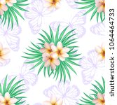 seamless pattern with plumeria... | Shutterstock .eps vector #1064464733
