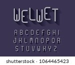 modern alphabet with shadow ... | Shutterstock .eps vector #1064465423