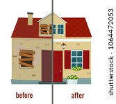 house before and after repair... | Shutterstock .eps vector #1064472053