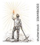 ethereum miner holding ethereum ... | Shutterstock .eps vector #1064486303