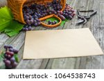 basket with grapes beside... | Shutterstock . vector #1064538743