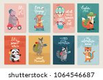 travel animals card set  hand... | Shutterstock .eps vector #1064546687