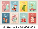 travel animals card set with... | Shutterstock .eps vector #1064546693