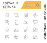 set line icons of laundry | Shutterstock .eps vector #1064547803