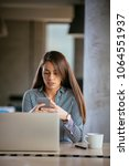young business woman on the...   Shutterstock . vector #1064551937