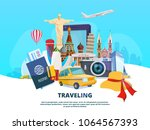 Travel background illustration of different world landmarks. Vector travel and tourism, trip to europe, famous architecture | Shutterstock vector #1064567393