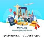 travel background illustration... | Shutterstock .eps vector #1064567393