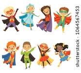 kids in superhero costumes.... | Shutterstock .eps vector #1064567453
