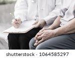 geriatric doctor or... | Shutterstock . vector #1064585297