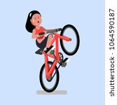 woman rides a bicycle on one... | Shutterstock .eps vector #1064590187