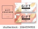 Trendy abstract gift voucher card templates. Modern discount coupon or certificate layout with artistic stroke pattern. Vector fashion bright background design with information sample text.    Shutterstock vector #1064594903