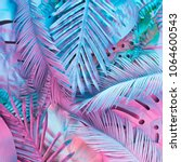 tropical and palm leaves in... | Shutterstock . vector #1064600543