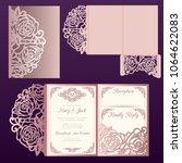 die laser cut wedding card...   Shutterstock .eps vector #1064622083