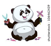 vector illustration - little cartoon panda on white background - stock vector