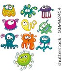 Vector illustration - set of  cartoon  aliens on white background - stock vector