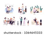 family members spending time... | Shutterstock .eps vector #1064645333