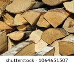 chopped birch firewood in the... | Shutterstock . vector #1064651507