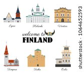 finnish travel cartoon vector... | Shutterstock .eps vector #1064652593