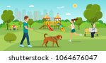 man is walking with a dog.... | Shutterstock .eps vector #1064676047