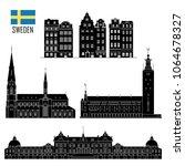 swedish set of landmark icons... | Shutterstock .eps vector #1064678327