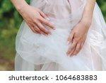 graceful bride's hands touch... | Shutterstock . vector #1064683883