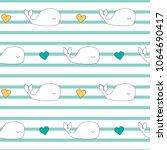 cute cartoon whales seamless...   Shutterstock .eps vector #1064690417