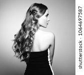 portrait of beautiful blonde... | Shutterstock . vector #1064697587