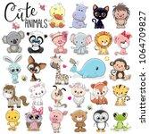 set of cute cartoon animals on... | Shutterstock .eps vector #1064709827