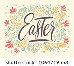 easter vector lettering card.... | Shutterstock .eps vector #1064719553