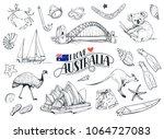 set on hand drawn australian...   Shutterstock .eps vector #1064727083
